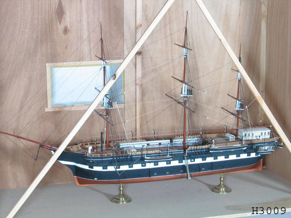 H3009 Model ship, 'Vernon', timber / metal, c. 1880-1890. Click to enlarge.