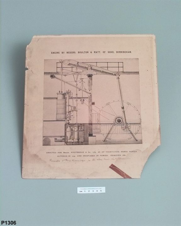 P1306 Photographic reproduction of a drawing, mounted, beam engine made in 1785 by Boulton and Watt for Whitbread's Brewery, [albumen] / paper /cardboard, photographer unknown, photographed for Whitbread and Company, London, England, c.1880-1887. Click to enlarge.