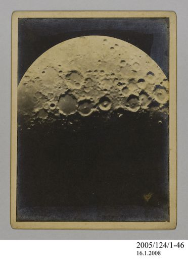 2005/124/1-46 Photograph, part of collection owned by James Short, black and white, the moon, mounted, card / paper, photographer unknown, Sydney, New South Wales, Australia, 1890-1922