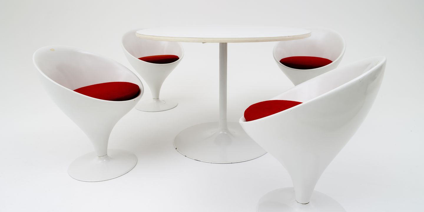 2005/175/1 Dining setting, 'Stem', table and chairs (4), plastic / wood / metal / rubber / fabric, designed by Grant and Mary Featherston, made by Aristoc Industries, Melbourne, Victoria, Australia, 1969. Click to enlarge.