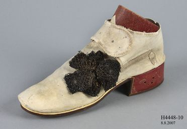 H4448-10 Buckle shoe with buckle, part of Joseph Box collection, mens, leather / silk / copper / steel / metal, maker unknown, England, c. 1761-c.1780