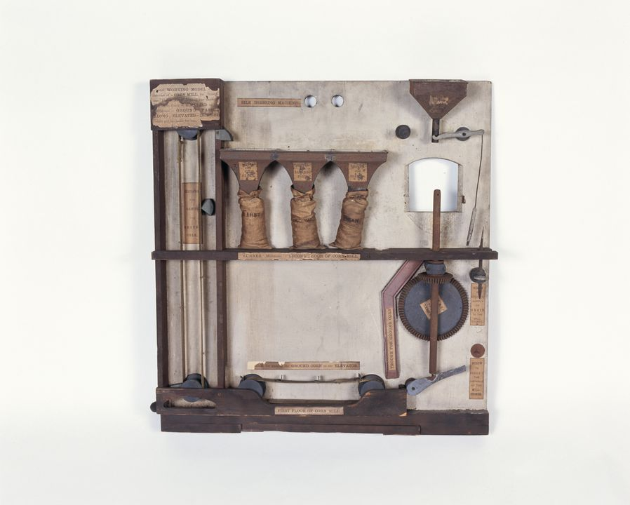 10955 Sectioned working model of a corn mill, wood / paper / metal, James Rigg, c.1880. Click to enlarge.