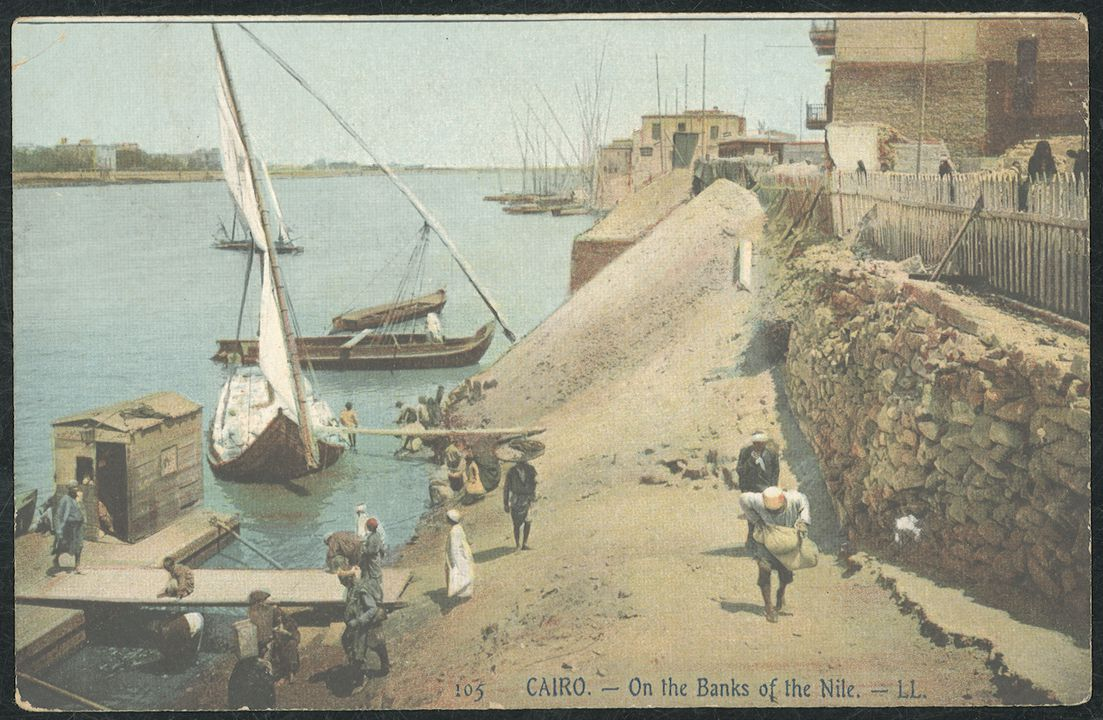 2000/9/26-33 Postcard, 'Cairo - On the banks of the Nile', maker unknown, used by Federick Boddington, Egypt, 1915. Click to enlarge.