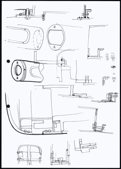 2014/105/3 Design concept sketches or drawings of Opal card ticketing reader (14 pages), ink on paper, made by Lee Liston and Robbie Wells, 4design, Surry Hills, New South Wales, Australia, 2010. Click to enlarge.
