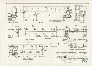92/1760 Technical drawings (67), and photograph album, woodwind instruments, University of Oxford Bate Collection of Historical Instruments, paper/ink, drawn by Ken Williams and others, England, c.1984