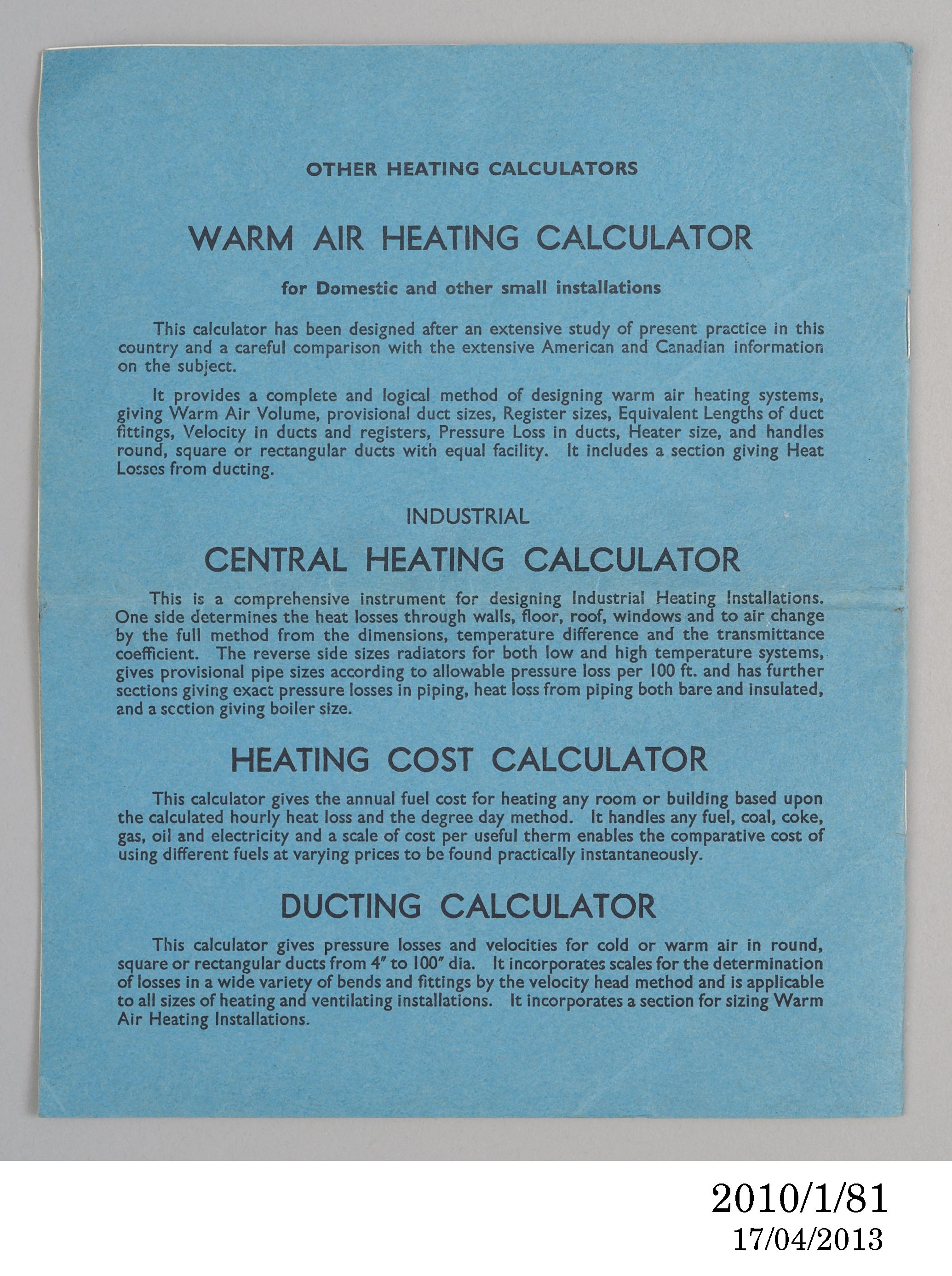Domestic central heating calculator - MAAS Collection
