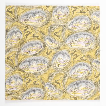 2002/88/1-5/12 Textile design, 'Bambi and Winterscape', gouache on paper, designed by Shirley de Vocht and entered in the 1954 Leroy-Alcorso Textile Prize, Sydney, New South Wales, Australia, c. 1951-1954