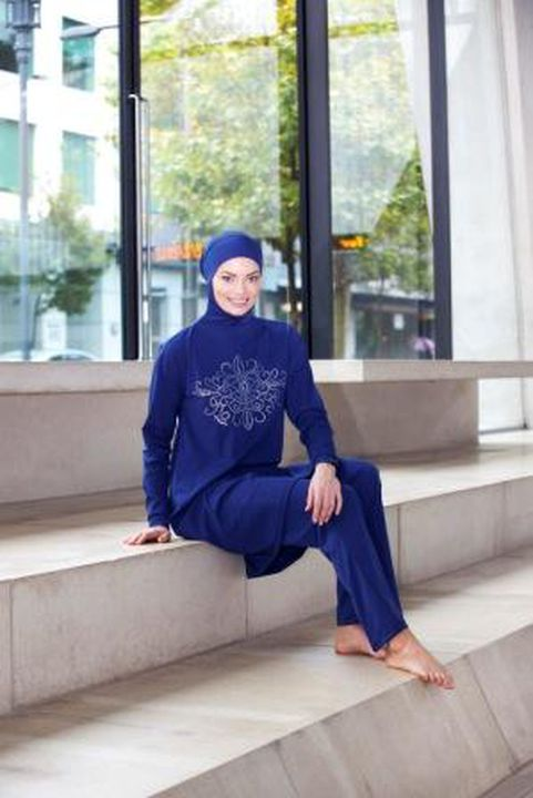 2012/43/2 Swimsuit, 'modest-fit' burqini(R), womens, polyester, designed and made by Aheda Zanetti / Ahiida(TM), Villawood, Sydney, New South Wales, Australia, 2011. Click to enlarge.