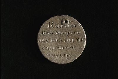 2003/40/1 Convict love token, H. Heald, 'Keep this dear Mary for my sake till the departure of thy life / The gift of a friend whose love for you will never end H Heald', copper, [convict made], Britain / Australia, 1825 - 1835