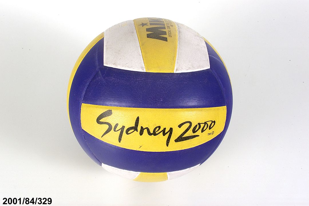2001/84/329 Beach volleyball, style VLS200, water-repellent composite material /butyl bladder, made by Mikasa sports, Japan c.2000, made for SOCOG, Sydney 2000 Olympic Games.. Click to enlarge.