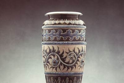 2845 Vase, salt glazed stoneware, designed and decorated by George Tinworth, Doulton & Co., Lambeth, London, England, 1883
