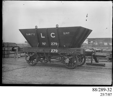 88/289-32 Photographic glass plate negative, depicting the standard gauge, 4-wheel, railway coal hopper wagon No. 279 built by Clyde Engineering Pty Ltd (for Lambton Colliery B Pit, Redhead, New South Wales, Australia), Granville, New South Wales, Australia, c. 1898