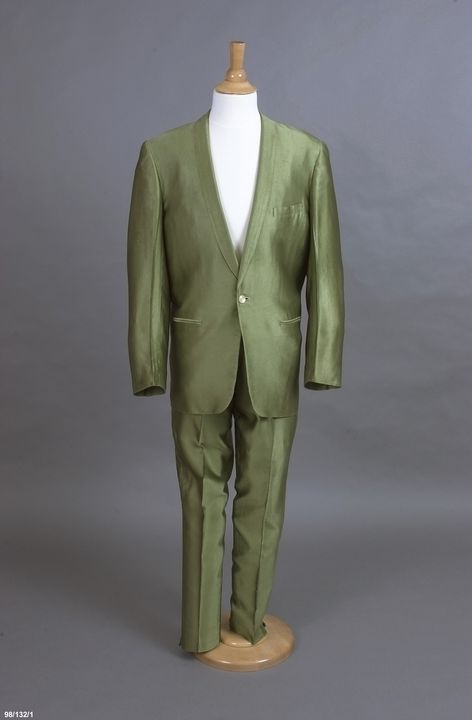 98/132/1 Performance costume, jacket and trousers, textile / plastic / metal, worn by Col Joye, designed and made by Andy Ellis Exclusive Mens Wear, Sydney, New South Wales, Australia, 1958-1961. Click to enlarge.