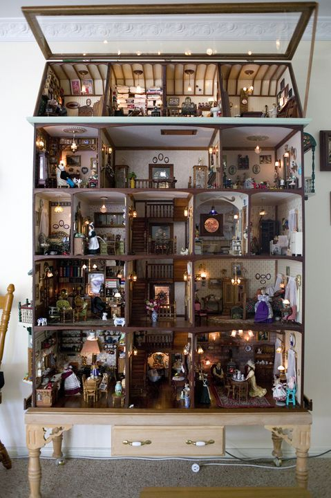 2007/51/1 Doll's house and contents, wood / metal / ceramic / glass, made by Frans and Christina Bosdyk, Picton, New South Wales, Australia, 1997-2006. Click to enlarge.