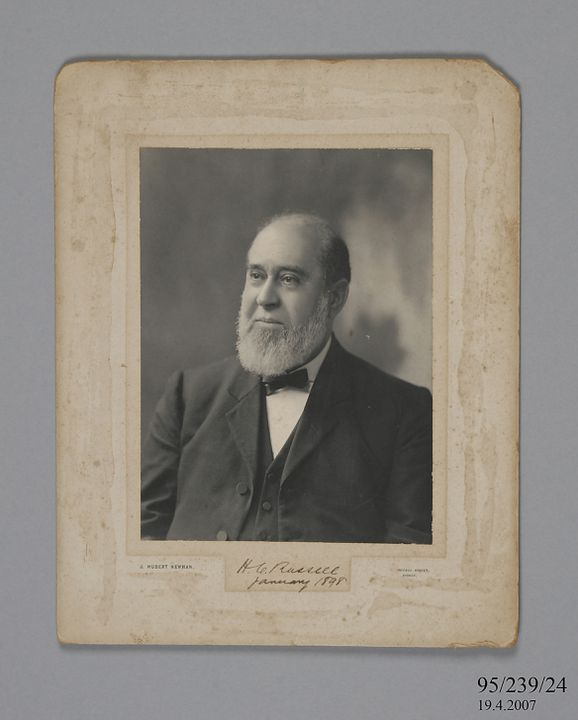 95/239/24 Photographic print, mounted on card, portrait of Henry Chamberlain Russell taken in 1898, paper / possibly platinum print, photographer J. Hubert Newman, Sydney, Australia, 1898. Click to enlarge.