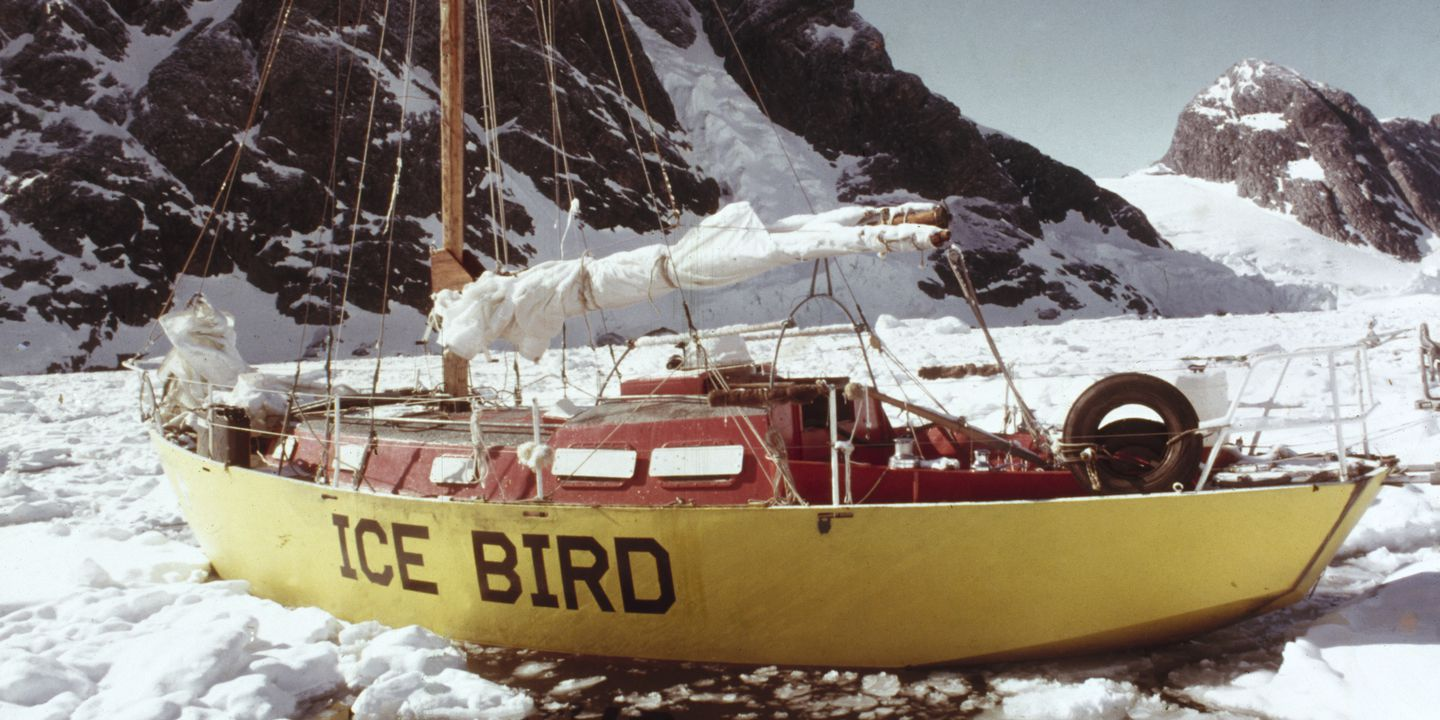 """B2449 Yacht and parts, full size, sloop """"Ice Bird"""", steel / plastic / timber, designed by Dick Taylor, Sydney, New South Wales, Australia, 1962, sailed by Dr David Lewis to Antarctica 1972-1974. Click to enlarge."""