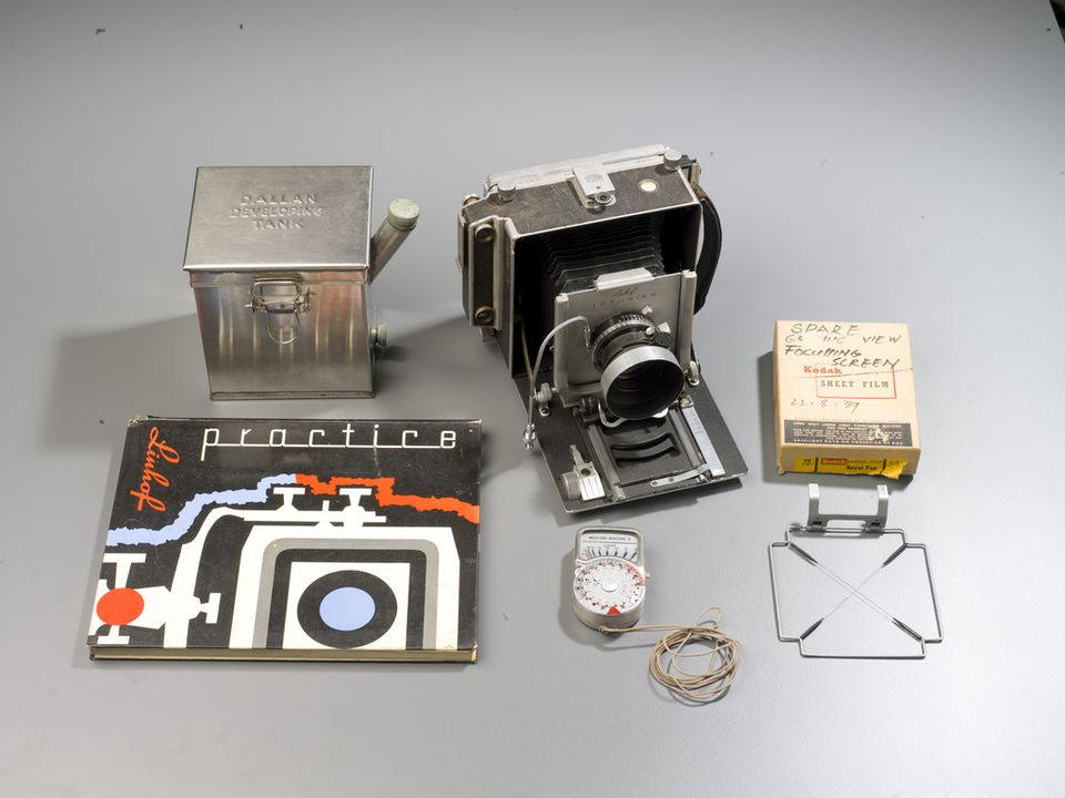 2011/59/1 Camera, 'Linhof Technika', and accessories, metal / plastic / paper / glass, various makers, c. 1959, used by Max Dupain, Sydney, New South Wales, 1959-1980s. Click to enlarge.