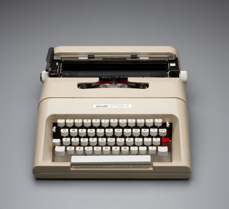 2013/26/1 Typewriter with carry case, 'Lettera 35', plastic / metal / rubber, designed by Mario Bellini, Italy, made by Olivetti, Spain, 1974. Click to enlarge.