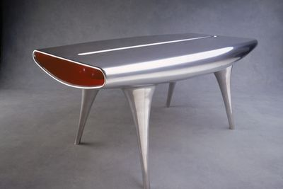 93/340/1 Table, 'Event Horizon', aluminium/ enamel paint, designed by Marc Newson, Australia/ Japan/ France 1991-1992, manufactured by CZMIL for POD Edition, France, 1992