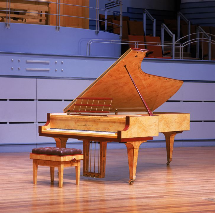 99/88/1 Grand piano with cover, Huon pine / King William pine / casuarina / metal, Stuart & Sons, Newcastle, New South Wales, Australia, 1998-1999. Click to enlarge.