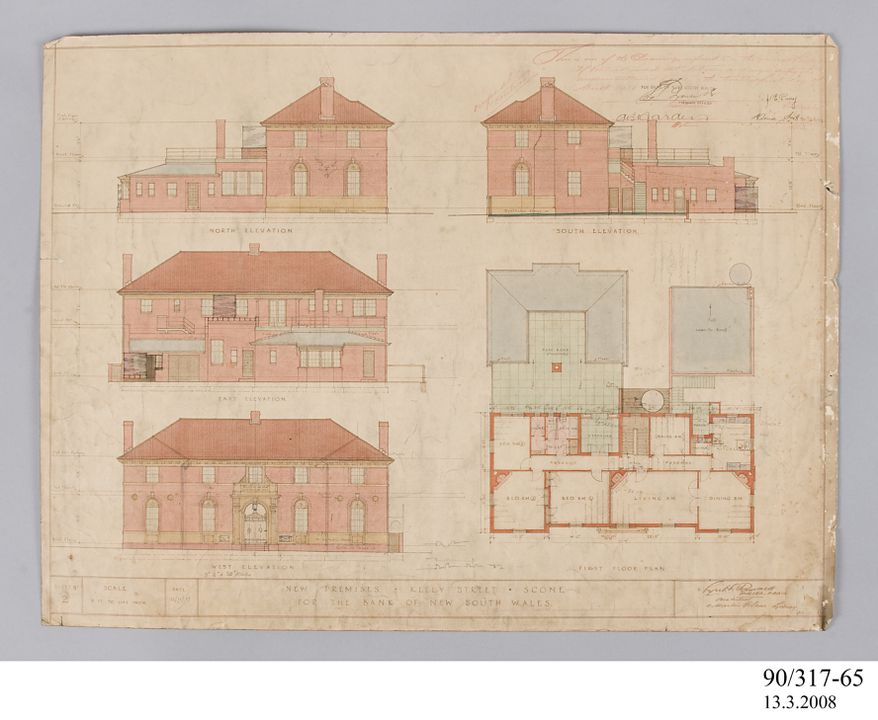 Diazo print, elevation and 1st floor plan Bank of NSW Scone