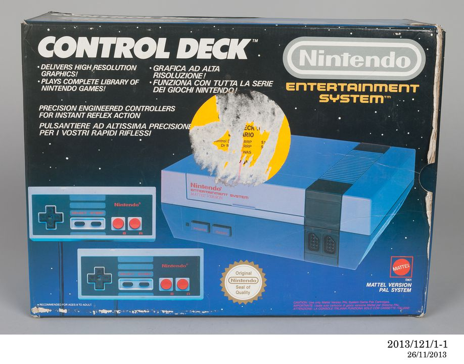 2013/121/1 Video game console with controllers (2), original packaging and game cartridge, 'Nintendo Entertainment System' (NES), plastic / cardboard / electronics, made by Nintendo Co Ltd, Japan, distributed by Mattel Inc, 1987. Click to enlarge.