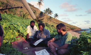 2018/79/1-30 Photograph, Koiki Mabo, Greg McIntyre & Eddie Mabo Jnr, Interviewed Murray Island May 1989, part of photographic and video footage of the Mabo v Queensland High Court hearing and subsequent events starting 1988