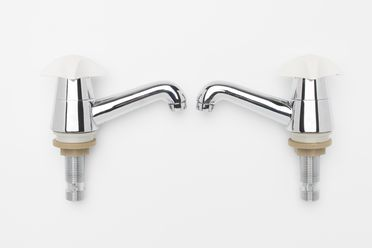 87/116 Taps (pair) and accessories, T4 Series, hot and cold, metal / plastic / rubber / paper / cardboard, designed by Arthur Robinson, 1964, made by Raymor Pty Ltd, Rockdale, New South Wales, Australia, 1986