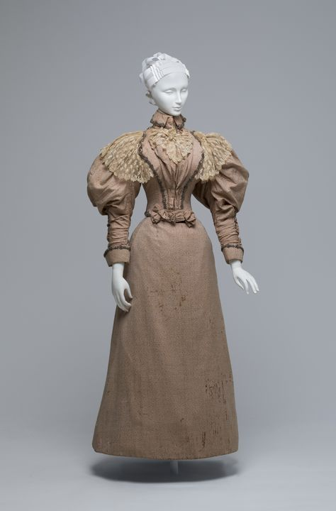 A8338 Dress, womans, comprising bodice, skirt and textile sample, silk / cotton / wool / metal / glass, worn by Elizabeth Cabrera (nee Shelley), possibly made by S C Rush, Sydney, New South Wales, Australia, 1896. Click to enlarge.