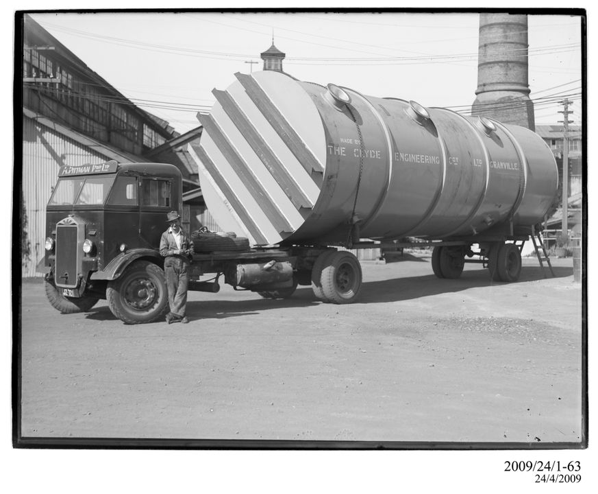 2009/24/1-63 Photographic glass plate negative, Large cylindrical vessel on A. Pittman 'Albion' articulated truck in works yard, made by Clyde Engineering Company Limited, Granville, New South Wales, Australia, 1900-1940. Click to enlarge.