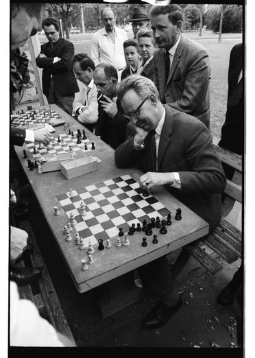 96/44/1-5/4/170/1 Negative, black and white, chess players in Hyde Park, for the book 'Sydney, A Book of Photographs', 35mm acetate film, David Mist, Sydney, New South Wales, Australia, 1969