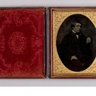 H5572-1 Ambrotype (1 of 4), tinted and mounted in embossed case, studio portrait of George Walker, collodion / paint / glass / wood / paper / brass / velvet / leather, maker unknown, Sydney, New South Wales, Australia, 1855-1865