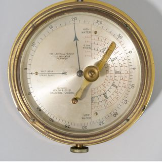 2010/1/53 Tide indicator, Lenthall Baugh, glass / metal, made by Heath & Co Ltd, Crayford, Kent, England, 1910-1920