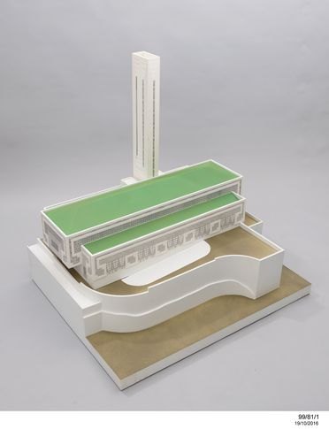 99/81/1 Architectural model, Pyrmont incinerator, perspex/ polystyrene/ medium density fibreboard, based on design by Marion Mahony / Walter Burley Griffin, made by Iain Scott-Stevenson, Powerhouse Museum workshop, Museum of Applied Arts & Sciences, Australia, 1935/ 1998