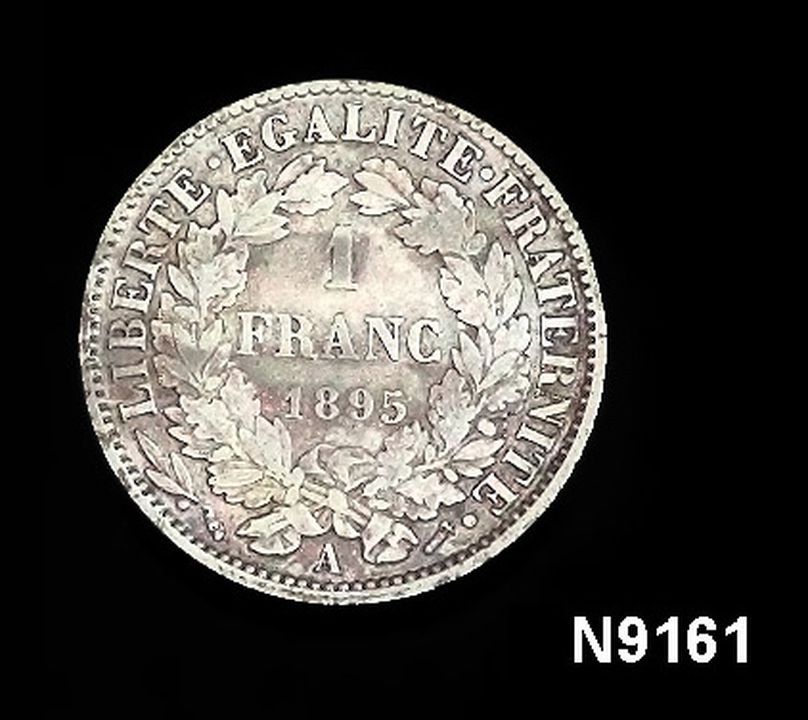 N9161 Coin, One Franc, silver, France, Third French Republic, 1895. Click to enlarge.