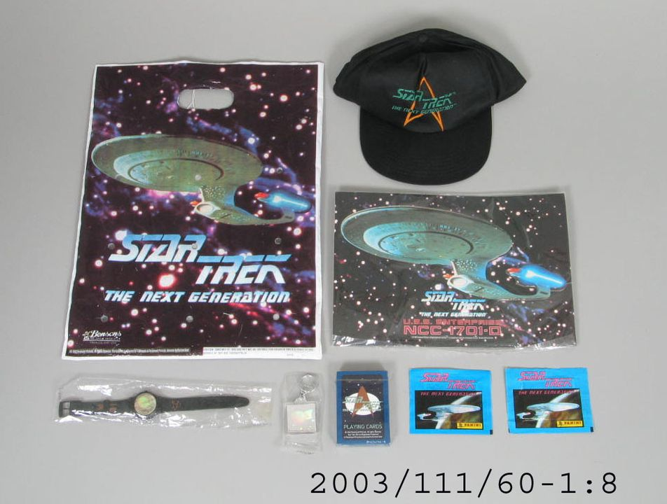 2003/111/60 Showbag and contents, Sydney Royal Easter Show, licensed from the television show 'Star Trek The Next Generation', plastic / metal / paper, made by Bensons, made in Australia / China / Taiwan / Italy, 1995. Click to enlarge.