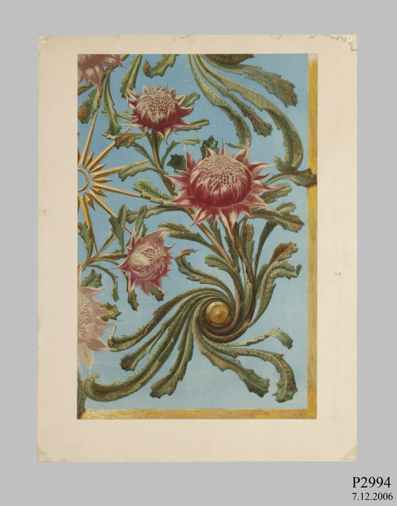 P2994 Design, 'Detail of Waratah-Panel (Designs for Wallpaper - R T Baker)', from unpublished book, 'Australian Decorative Arts', watercolour and gouache over pencil, made by Lucien Henry, Australia / France, 1889-1891. Click to enlarge.