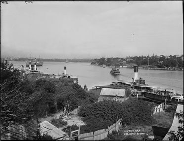 85/1284-306 Glass plate negative, full plate, entitled 'Neutral Bay', depicting the Neutral Bay ferry base , Sydney Harbour, and ferries 'Fairlight', 'Brightside', and 'Carabella', Kerry and Co, Sydney, New South Wales, Australia,1905-1908