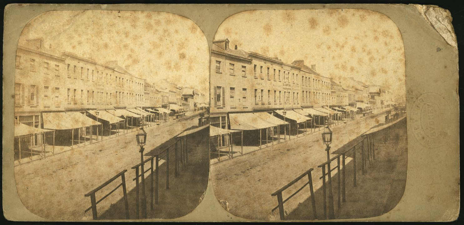 P3145-2 Photographic print, mounted stereoview George Street Sydney, paper / albumen / silver / ink, published by William Hetzer, Sydney, New South Wales, Australia, 1858-1860. Click to enlarge.