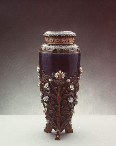 2832 Vase, 'Blackberries', stoneware, attributed to George Tinworth / Emma Martin, by Doulton & Co, Lambeth, England, 1881