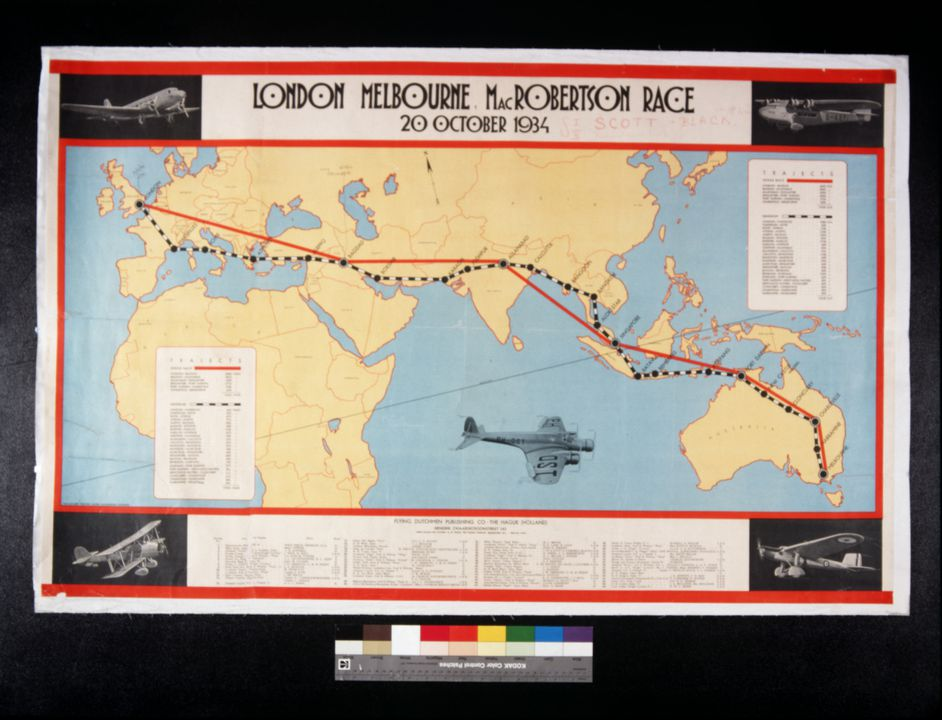 93/300/3 Poster, airline advertising, 'London Melbourne MacRobertson race 20 October 1934', paper, Flying Dutchman Publishing Co, Holland, 1934. Click to enlarge.