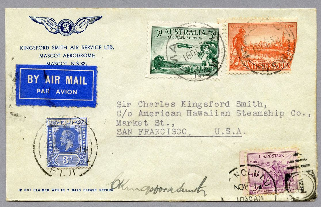 85/112-6 Philatelic cover, Australia to USA via 'Lady Southern Cross', signed, paper, envelope made for Kingsford Smith Air Service Ltd, Mascot, New South Wales, Australia, 1934. Click to enlarge.