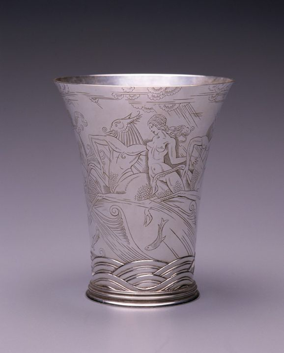98/102/1 Cup, sterling silver, 'The sea beaker', designed by Richard Yorke Gleadowe, engraved by George Taylor Friend, made by Henry G. Murphy, London, England, 1933-1934. Click to enlarge.