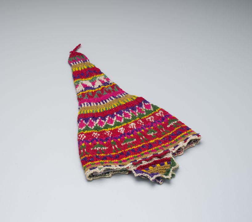 2011/44/20 Chullo hat, knitted, wool, maker unknown, Peru, 1953-2001. Click to enlarge.