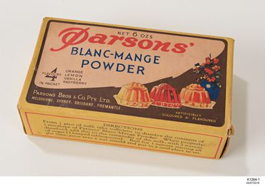 K1264-1 Pudding mix in packet, part of collection, Blanc-Mange, paper / cardboard, Parsons Bros & Co Pty Ltd, Australia, 1940-1960