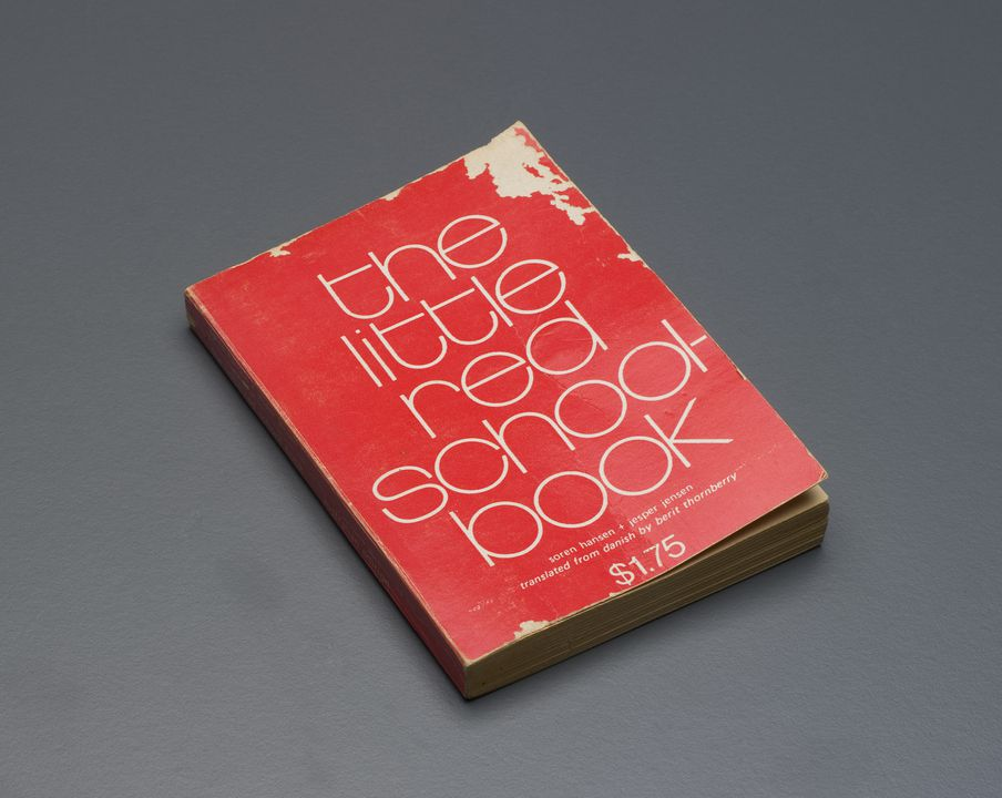 2005/214/1 Book, 'The little red schoolbook', paper, written by Soren Hansen and Jesper Jensen, Denmark, 1969, translated by Berit Thornberry, published by Alister Taylor in association with Brolga Books Pty Ltd, Adelaide, South Australia, Australia, 1972. Click to enlarge.