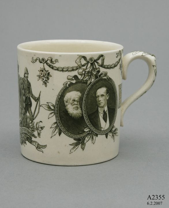 A2355 Mug, commemorating Australian Federation, earthenware, made by Doulton & Co, Burslem, England, 1900, collected by Thomas Handcock Lennard. Click to enlarge.