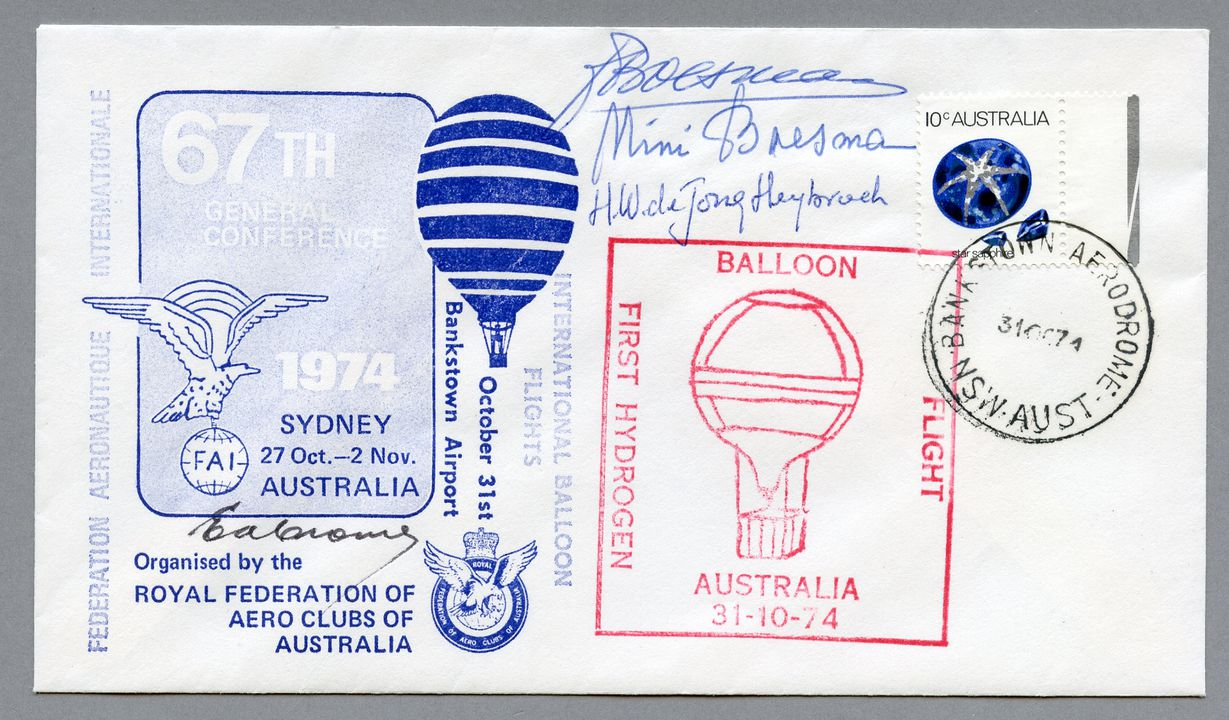 H9397 Philatelic covers (3) and program, Federation Aeronautique Internationale 67th General Conference, paper, various makers, Sydney, New South Wales, Australia, 1974. Click to enlarge.