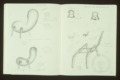 90/724-1/1 Sketchbook, designs for various objects, paper/ ink/ pencil, Marc Newson, Australia/ England/ Japan, 1986