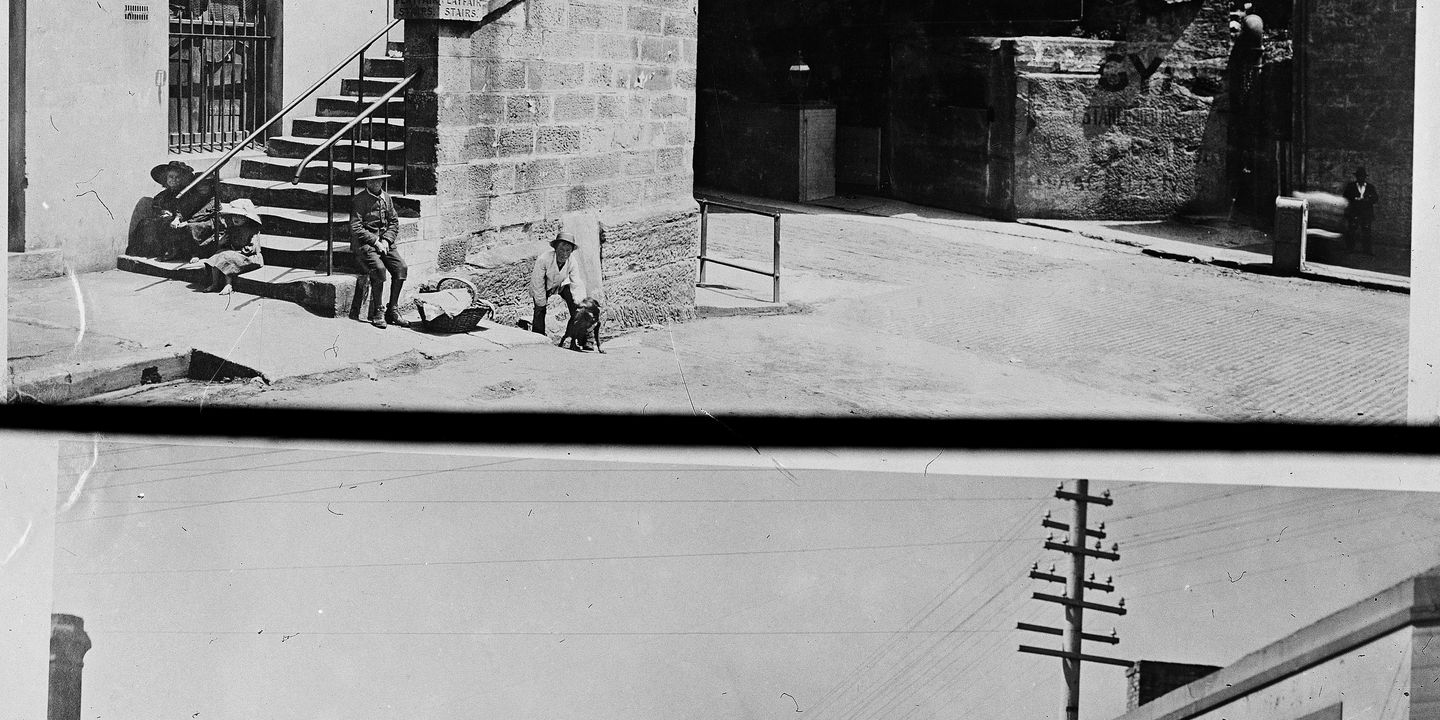 85/1286-777 Glass negative, 'Windmill Street' and 'Sitting on the Playfair Stairs', unattributed studio, Sydney, Australia, c. 1880-1923. Click to enlarge.